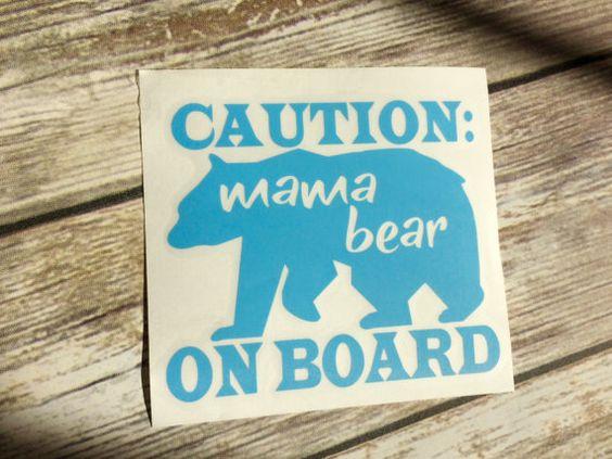 Caution | Mama Bear | On Board | Mother Bear | Mommy Bear | Car Window Decal…
