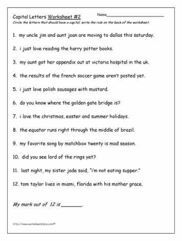Using Capital Letters 2nd - 3rd Grade Worksheet   Lesson Planet