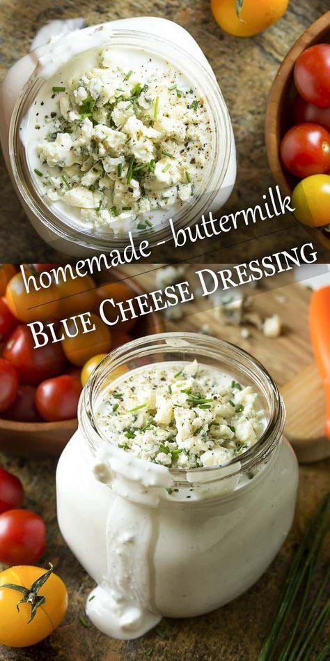 Homemade Buttermilk Blue Cheese Dressing Just A Little Bit Of Bacon Recipe Salad Dressing Recipes Homemade Blue Cheese Dressing Recipe Homemade Salads