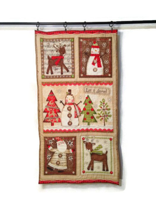 Christmas Wall Hanging Backdrop Quilted Tapestry by ModernArras