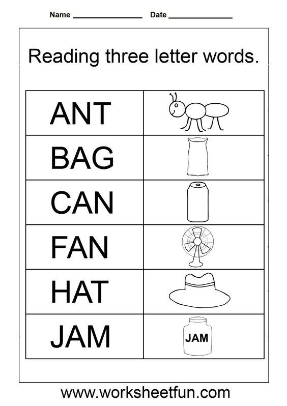 Words Three Letter Worksheet Preschoolers