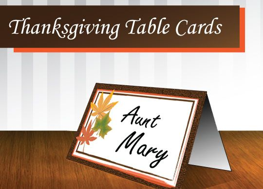 Thanksgiving Place Cards - Free Printable: Fall Place Cards, Cards Leaf, Cards Free, Thanksgiving Diy Place Cards, Free Thanksgiving Placecards, Fall Halloween Thanksgiving, Fall Thanksgiving, Card Ideas, Thanksgiving Place Cards