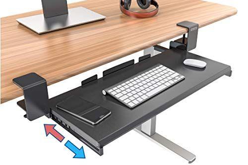 Clamp On Keyboard Tray Under Desk Storage Ergonomic Desk Drawer Computer Keyboard Stand Under Desk Drawer Under D In 2020 Ergonomic Desk Computer Shelf Desk