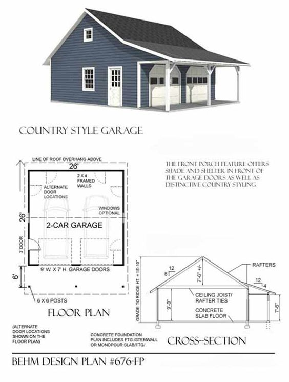 Country style 2 car garage plan 676 fp with front porch for Garage plans with porch