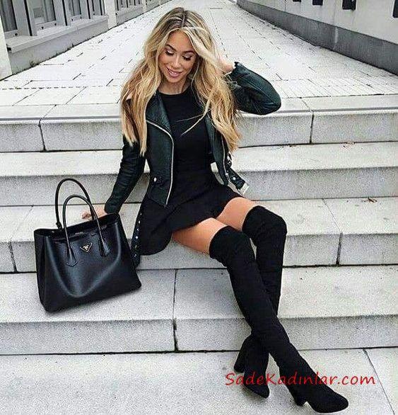 2019 Deri Ceket Kombinleri Siyah Kisa Klos Mini Elbise Siyah Kisa Deri Ceket Siuzn Uzun Cizme Mini Elbise Tarz Moda Uzun Cizme