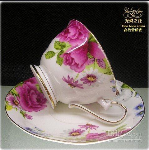 Bone china coffee/tea cup and saucer free shiping 12 pcs/6 sets ...