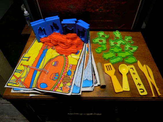 Vintage 1970s Play Doh Lot including Press Molds, Play Mats and more
