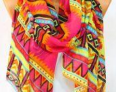Fashi prix promotionnel spécial foulard aztèque Infinity sud-ouest écharpe foulard Tribal écharpe Native Chevron Scarf foulard Fuchsia Orange féminines