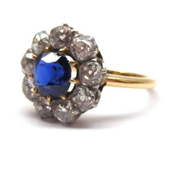 Antique sapphire and diamond cluster ring, c.1890