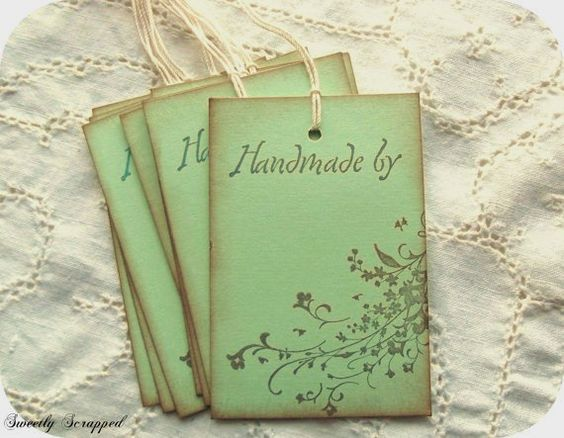 Handmade By Tags - Labels - Floral Flourish, Green Vintage Inspired
