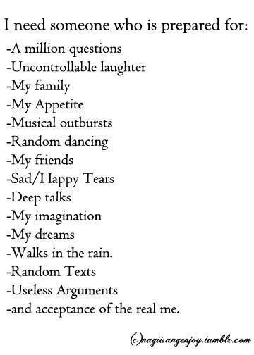 I need someone who...