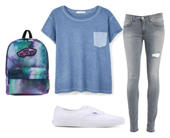 """Untitled #155"" by gabrielle-bubbles on Polyvore featuring MANGO, Dondup and Vans"
