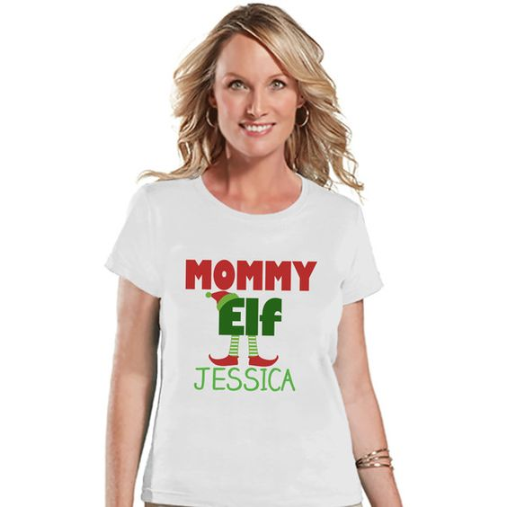 Mommy Elf Shirt Christmas T-Shirt Custom Holiday Top Winter Tee White... ($18) ❤ liked on Polyvore featuring tops, t-shirts, silver, women's clothing, graphic tees, silver t shirt, christmas t shirts, holiday t shirts and holiday shirts