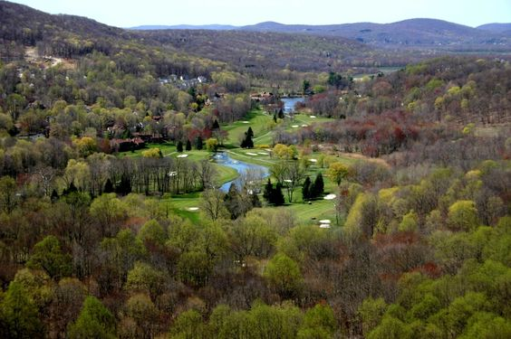 A aerial shot of the Robert Trent golf course at the gated community of Panther Valley located in Allamuchy, NJ #golf #course #Panther #Valley