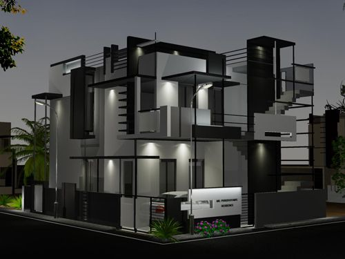 Front Elevation Designs For Bungalows : Night view of front elevation side for puru s