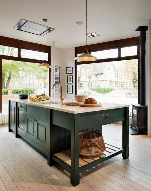 Decorate With Dark Green To Create Cozy Rooms Green Kitchen Cabinets Dark Green Kitchen Green Kitchen Designs