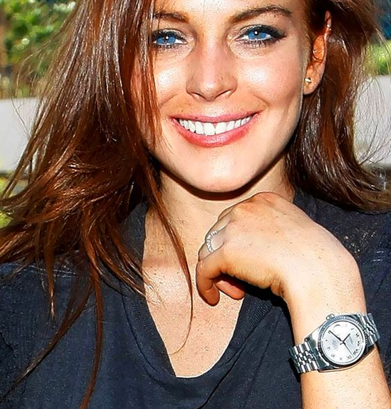 Lindsay lohan rolex datejust women with watches pinterest colors stainless steel and for Celebrity watches female