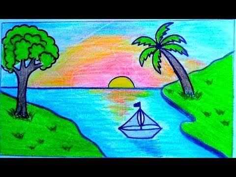 رسم منظر طبيعي سهل بالملونات الخشبية والرصاص رسومات جميلة وسهلة Youtube Art Painting Youtube