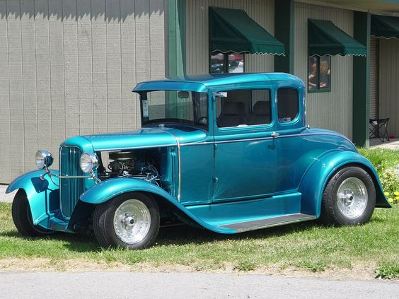 1932 Ford Coupe - Blue - Side Angle  (in Black please)