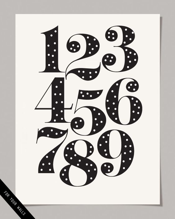 Numbers, Free prints and Polka dot numbers