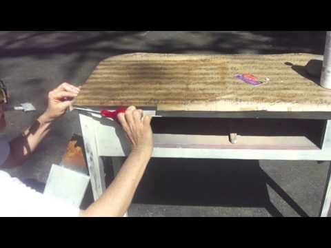 Decoupage a side table with music sheets wrapping paper. Free Video Tutorial!