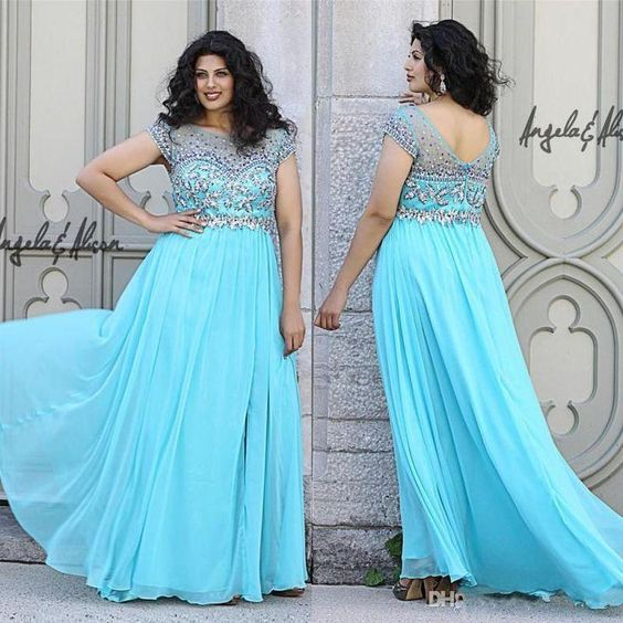 Plus Size Women Clothing Fashion Plus Size Sky Blue Beaded Evening Prom Party Dresses Sheer Neck Cap Sleeves Sexy Open Back Floor Long Chiffon Special Occasion Gown Prom Dresses Toronto From Whiteone, $115.8| Dhgate.Com