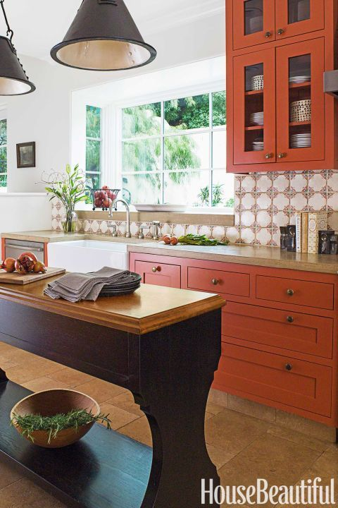 "Pantone named ""Autumn Maple"" as one of its top shades for (surprise, surprise) autumn, but the fall hue looks fresh year-round. A similar burnt orange spices up this kitchen by Melanie Coddington.   Make it yours: Benjamin Moore Salsa Dancing"