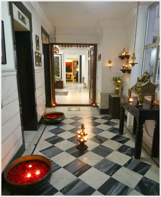 Diwali decoration for the entryway or foyer decor ideas for Simple diwali home decorations