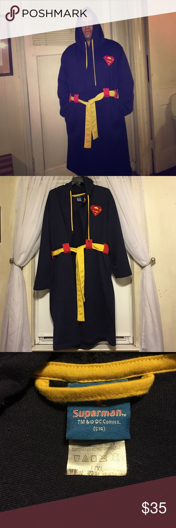 """Superman Robe If he goes crazy; I'll still call him Superman. Seriously; who doesn't want to alienate the neighbors in their Superman robe?!?! Don't miss this one. Whether you're pumpkin the RV septic into the sewer line or grocery shopping at Walmart; you've gotta have it! 44 1/2"""" long plus you can totally draw the hood up and play """"Kenny from South Park""""! Let's be real; y'all know y'all want to embarrass your teenagers and in-laws in this sweetness. Act fast; the holidays are creeping up…"""