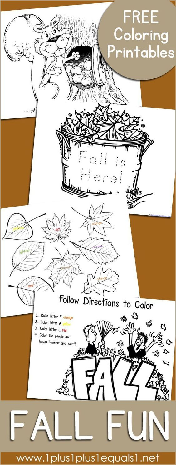 Fall Fun Just Color Coloring For kids and Preschool