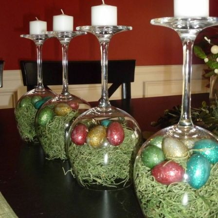 easter table - Change the colour of the paper and use tiny baubles instead of eggs, would be lovely for Christmas.: