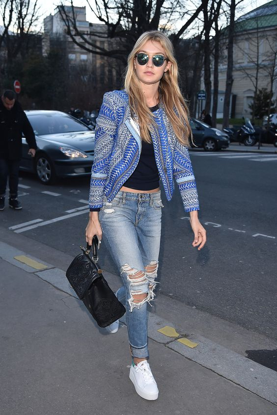 PFW Day Two: Gigi Hadid wearing Joe's jeans and Ash sneakers.