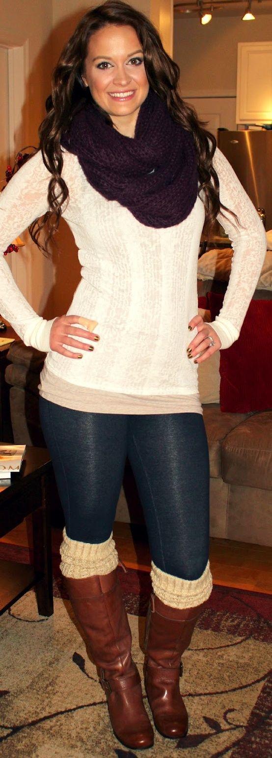 Knit infinity scarf + long sleeve shirt + long undershirt + leggings + socks/leg warmers + boots