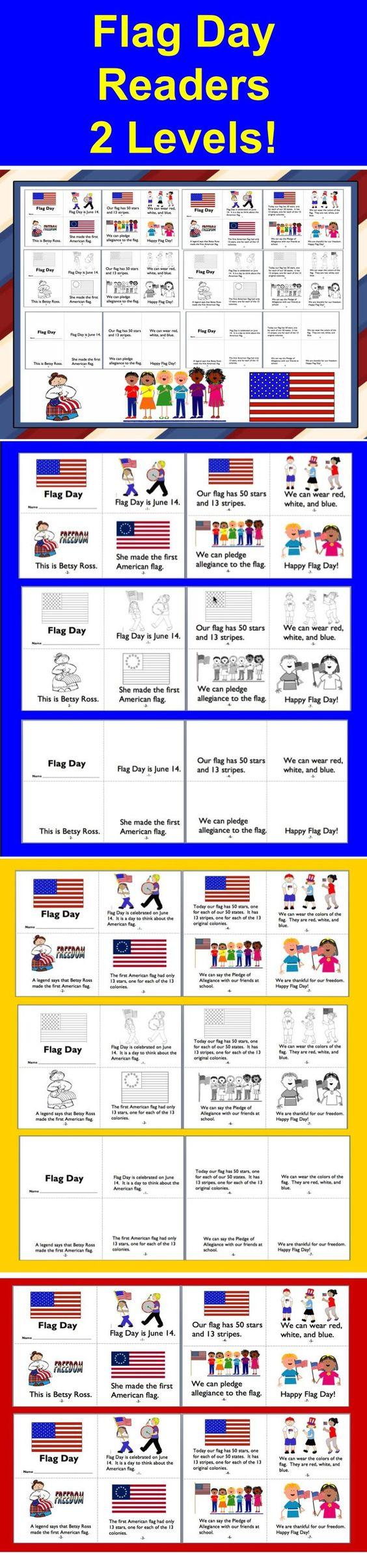 Worksheet Reading Level K flag day readers 2 reading levels 3 versions each level k1 easy assembly of 1 full color illustrations black