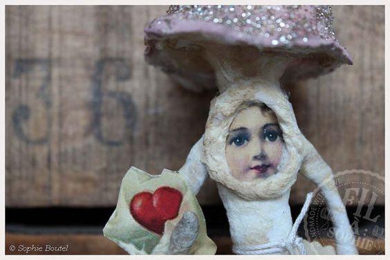Nostalgische Wattefigur Pilz Valentinstag spun von FilASophie