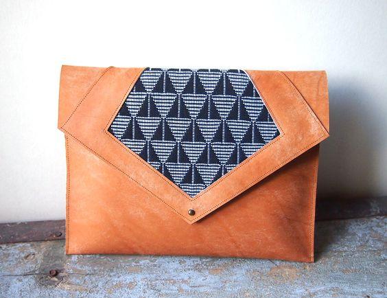 pochette ethnique cuir et coton tiss belle sac main et paris. Black Bedroom Furniture Sets. Home Design Ideas