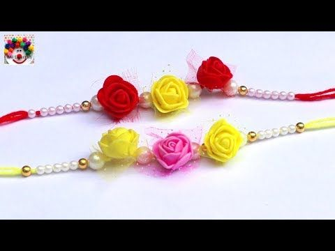 How To Make Rakhi Easy Rakhi Making Idea Handmade Rakhi Beautiful Rakhi Making At Home Youtube Rakhi Making Handmade Rakhi Handmade Rakhi Designs