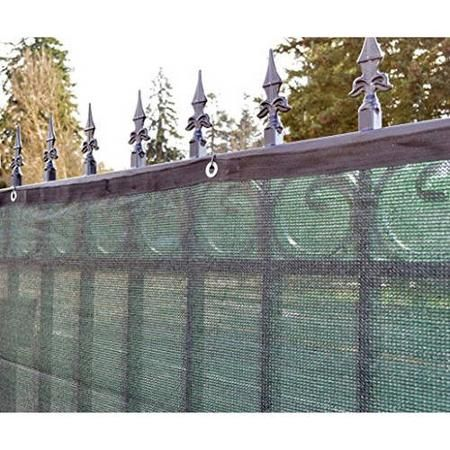 This green panel is only slightly going to obscure view, but it attaches to all different types of fences. It even attaches to this iron one to provide better protection and security.