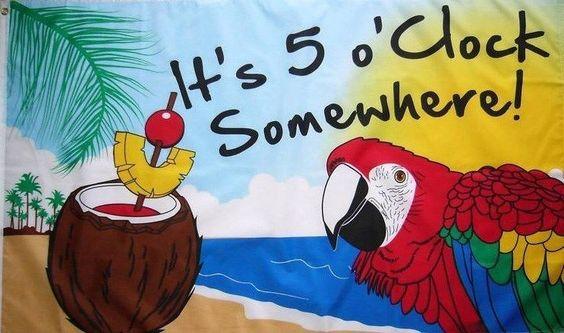 It S 5 O Clock Somewhere Tiki Bar Decor Jimmy Buffett Flag