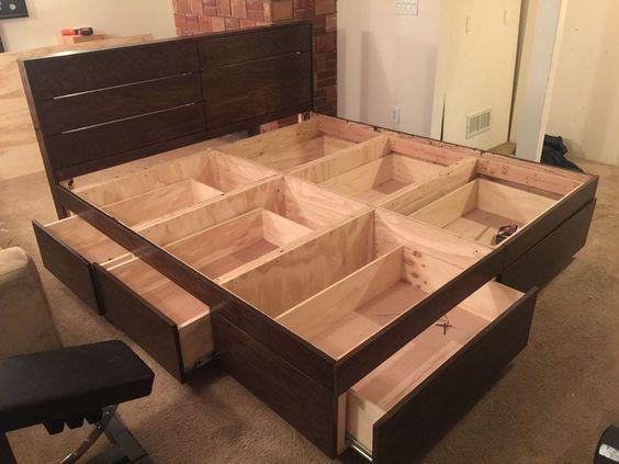 Bed Frame With Storage Diy, Make Platform Bed With Storage
