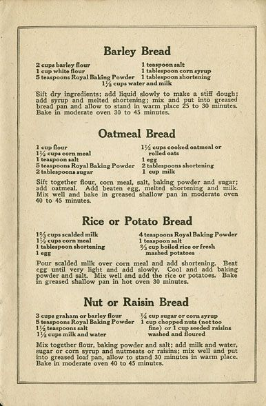 World War I Recipes from UWMad Digital Collection
