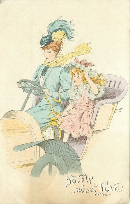 TO MY SWEET LOVE  lady in blue drives ancient car, child by her side