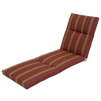 Red tweed stripe deluxe outdoor chaise lounge cushion for Blue and white striped chaise lounge cushions