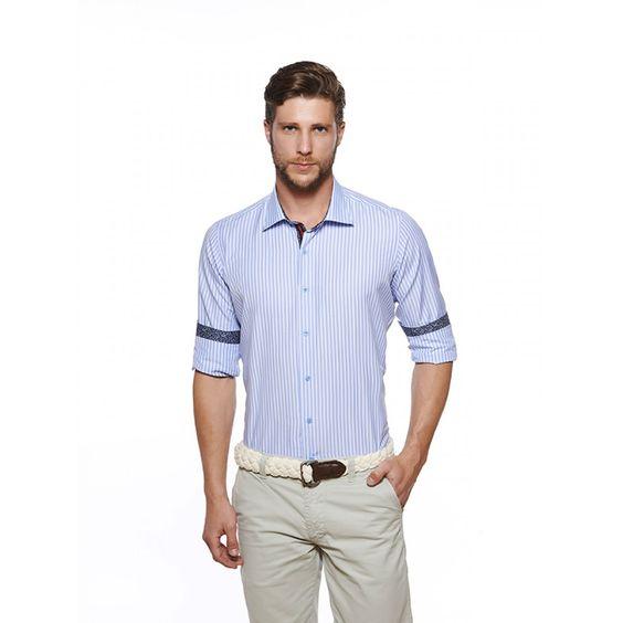 Camisa 100% Algodão Azul Claro