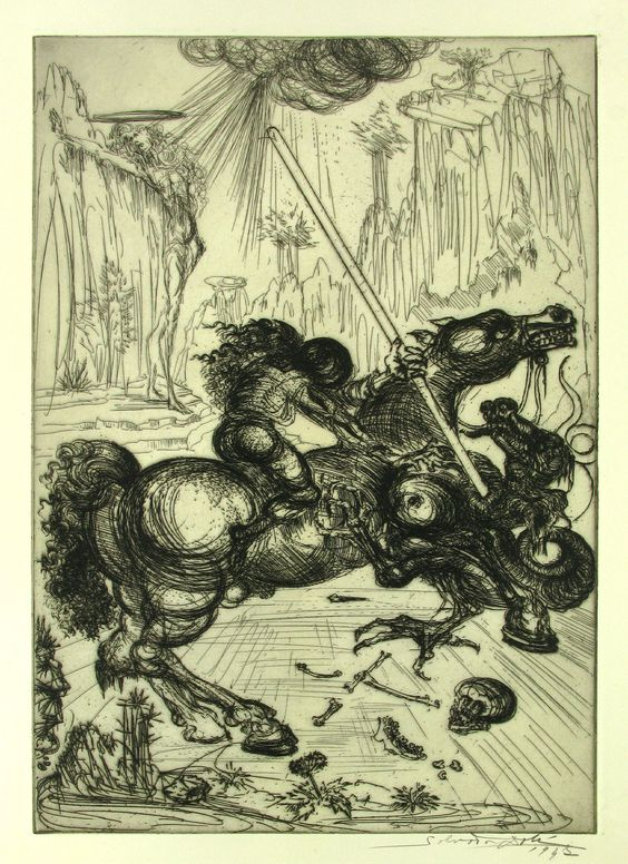 Salvador Dali, St. George and the Dragon, Etching on Paper, Limited Edition