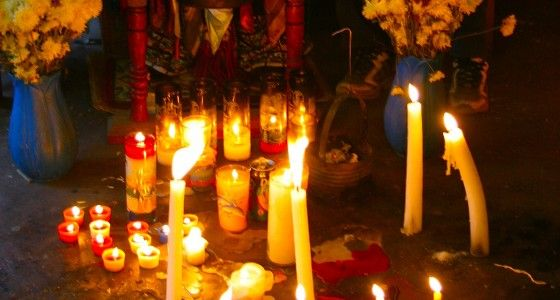 Hoodoo Magick Rootwork:  Candles burning for Hoodoo Magick.