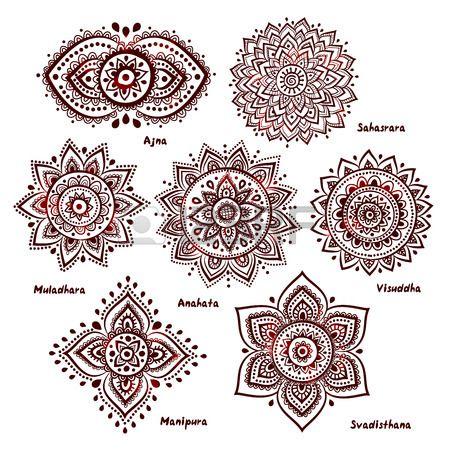 Ensemble isol de belles ornementales 7 chakras Banque d'images