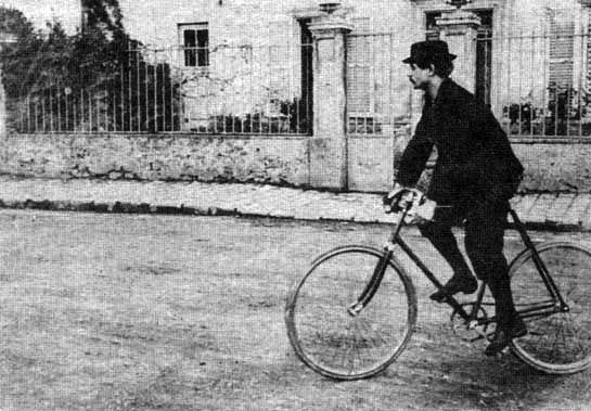 Alfred Jarry on his bicycle