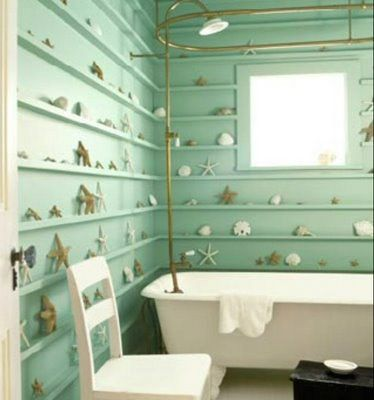 Luv the color and idea of this. I want to do a crown molding in my beach cabin made of sea shells, I think it would be soooo cool!