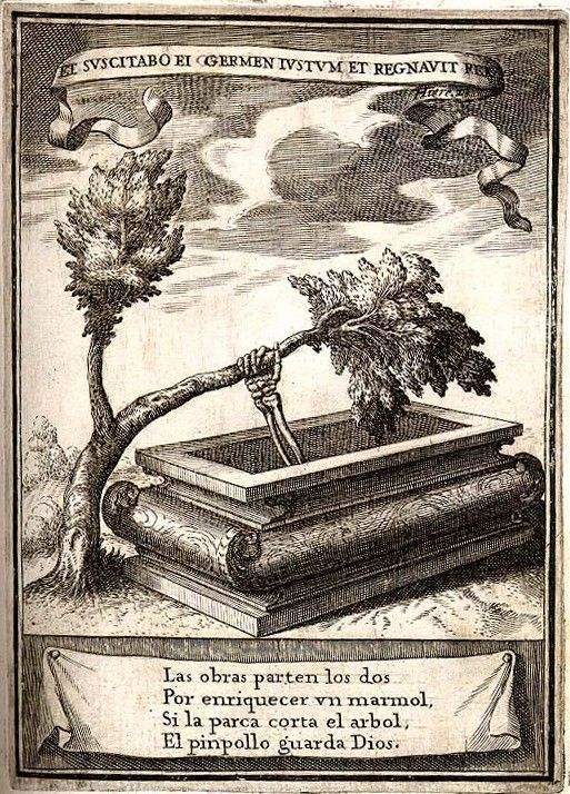 "biblioguerilla:  Emblem from ""Descripcion de las honras que se hicieron a Phelippe Quarto"" by Pedro Rodriguez de Monforteon on the occasion ... / old art / oniric / mystic"